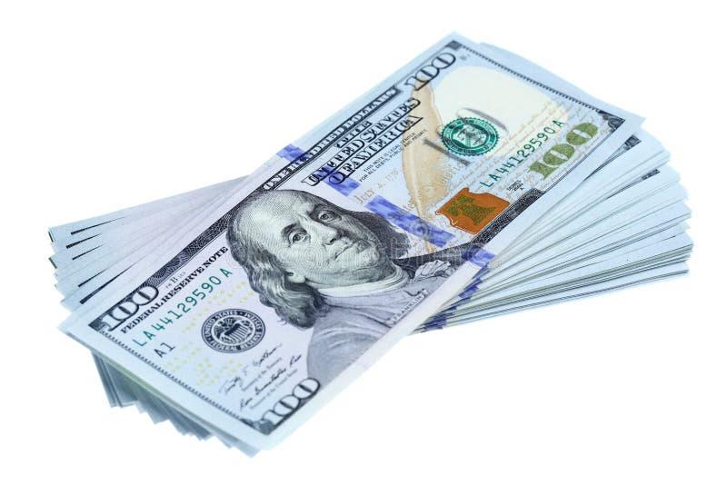 Bundel van nieuwe dollars stock afbeelding