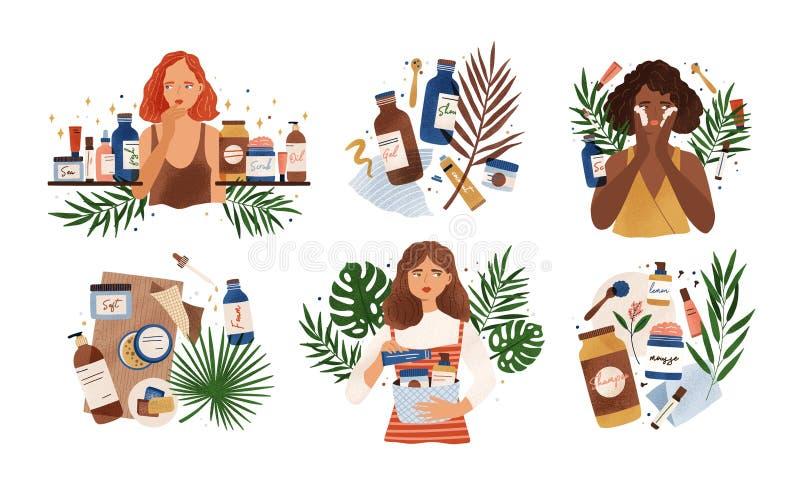 Bundel van samenstellingen met leuke jonge vrouwen, tropische bladeren en natuurlijke organische schoonheidsmiddelenproducten in  royalty-vrije illustratie