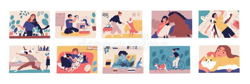 Bundel van scènes met huisdiereneigenaars Inzameling van leuke grappige mannen en vrouwen die tijd met hun huisdieren doorbrengen vector illustratie