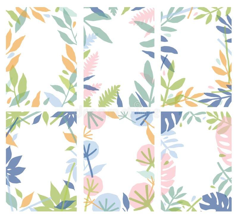 Bundel van verticale natuurlijke die achtergronden met kleurrijke bladeren worden verfraaid Inzameling van bloemenkaartmalplaatje stock illustratie