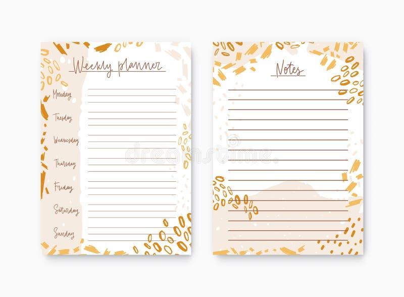 Bundel van wekelijkse die ontwerper en lijst voor nota'smalplaatjes door kleurrijke verfvlekken worden verfraaid Voor het drukken stock illustratie