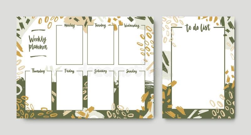 Bundel van wekelijkse die ontwerper en takenlijstmalplaatjes met kader door groene kwaststreken, verfsporen en gekrabbel wordt ve vector illustratie