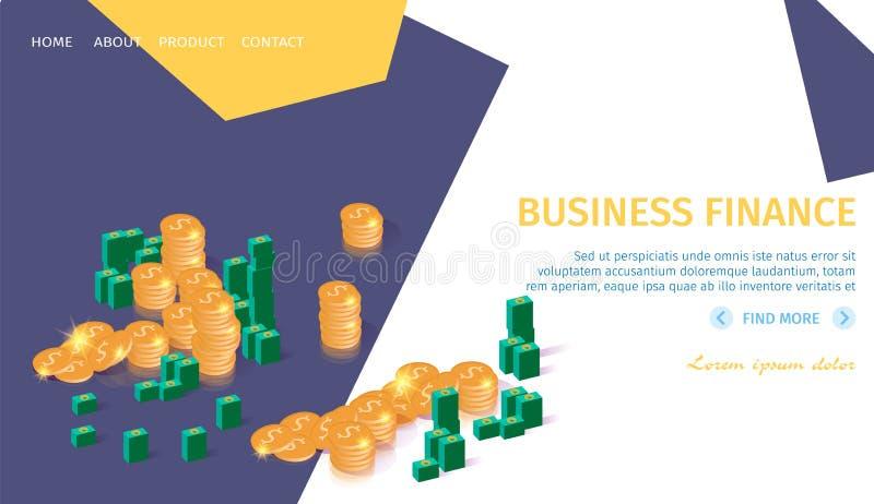 Bundels van Bankbiljetten en Dollars de Banner van Muntstukzakken stock illustratie