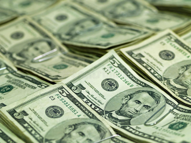Bundels van de V.S. De Rekeningen van vijf Dollars royalty-vrije stock foto's