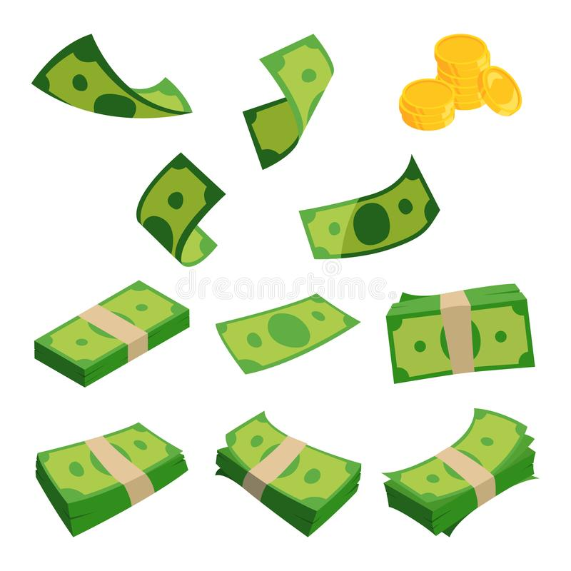 Bundels van dollars op witte achtergrond worden geïsoleerd die Verschillende geplaatste bankbiljetten stock illustratie