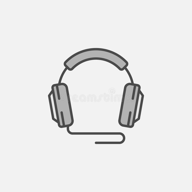 Bunden beståndsdel för för hörlurarvektorsymbol eller design royaltyfri illustrationer
