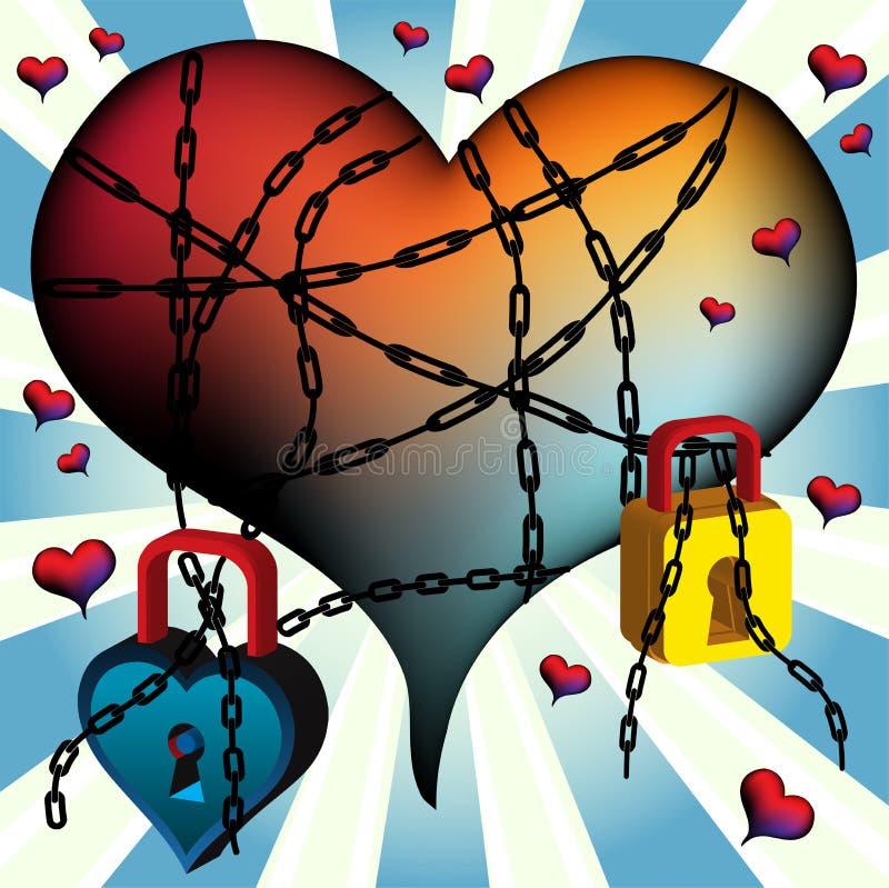 bunden hjärta stock illustrationer