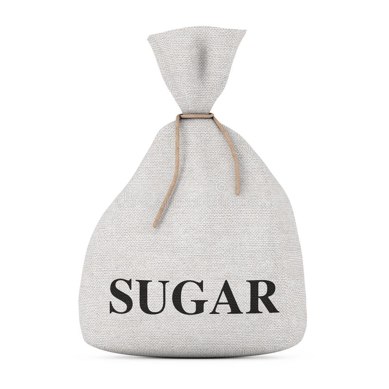 Bunden lantlig kanfaslinnesäck eller påse med Sugar Sign renderi 3D vektor illustrationer