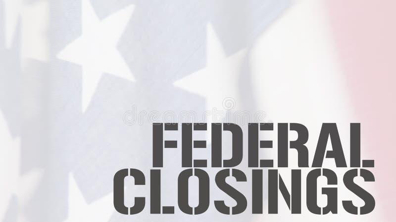 Bundesclosingswörter auf USA-Flagge lizenzfreies stockbild