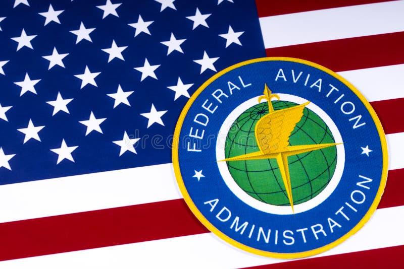 Bundesverwaltung für Luftfahrt-Logo und US-Flagge lizenzfreie stockfotos