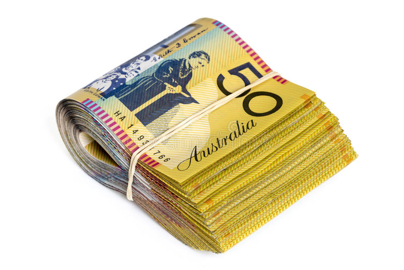 Bundle of Australian Money Isolated on White. Bundle of Australian money. Fifty dollar bills. Isolated on white stock photo