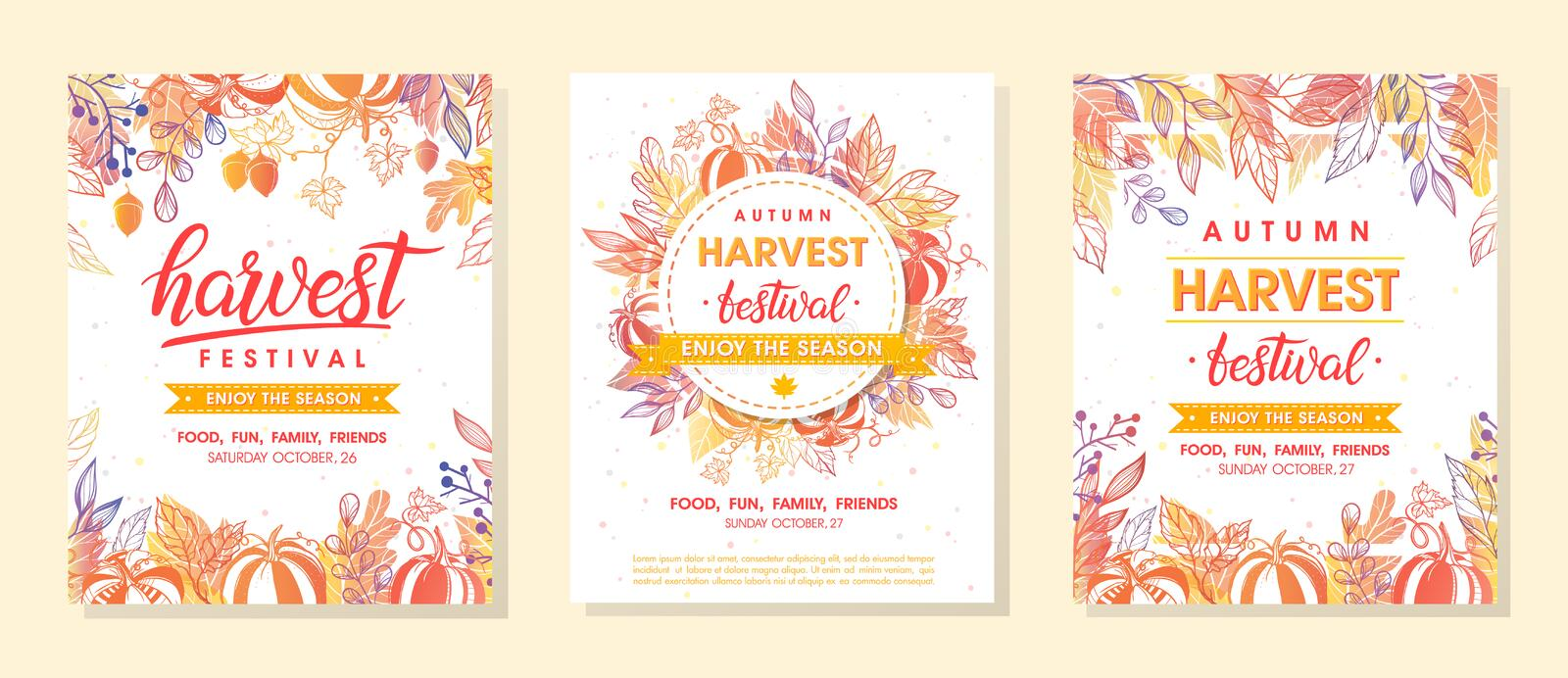 Bundle of autumn harvest festival banners with harvest symbols,leaves and floral element. Harvest fest design perfect for prints,flyers,banners,invitations and vector illustration