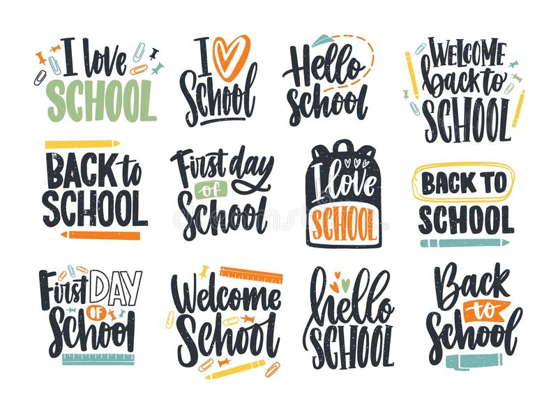 Bundle of Back to School inscriptions handwritten with cursive font and decorated with stationary or writing tools. Set. Of written phrases isolated on white stock illustration