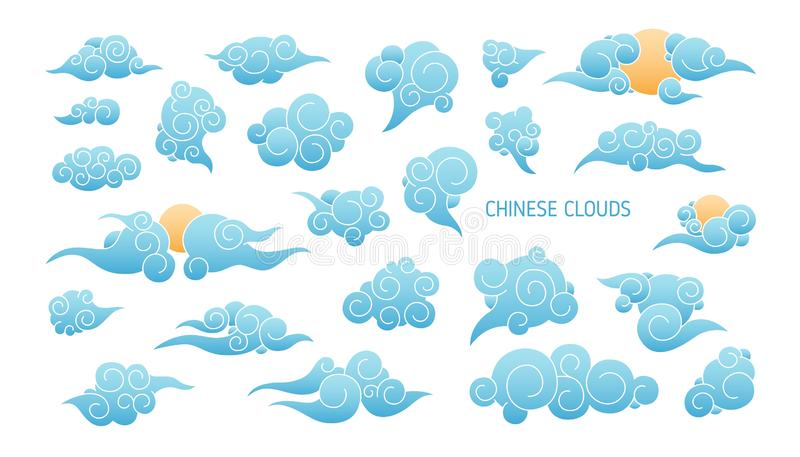Bundle of blue clouds in traditional Japanese style isolated on white background. Set of Asian decorative design royalty free illustration