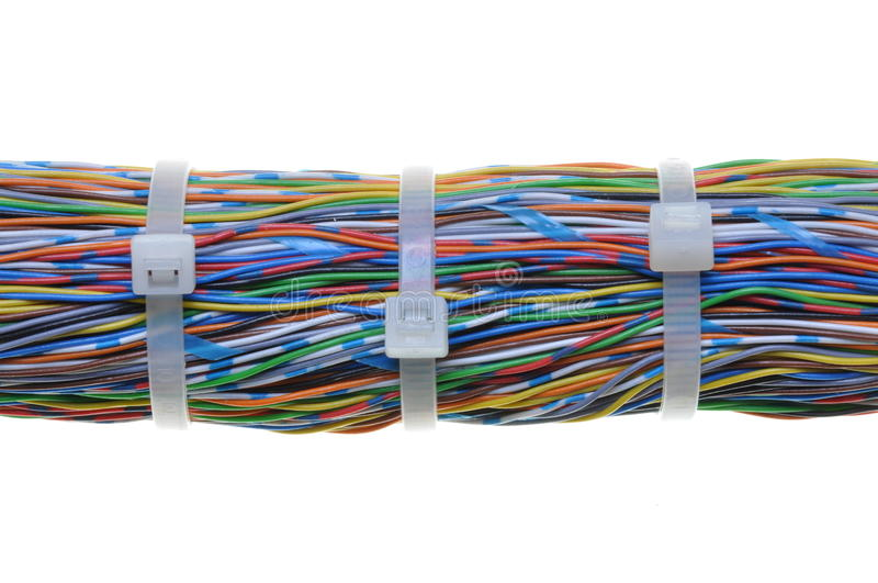 Download Bundle Of Cables With White Cable Ties Stock Image - Image of concept, electric: 24299647