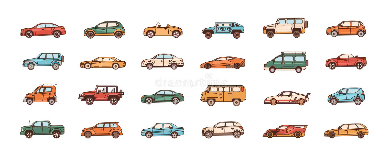 Bundle of cars of different body configuration styles - cabriolet, sedan, pickup, hatchback, van. Set of modern. Automobiles or motor vehicles of various types vector illustration