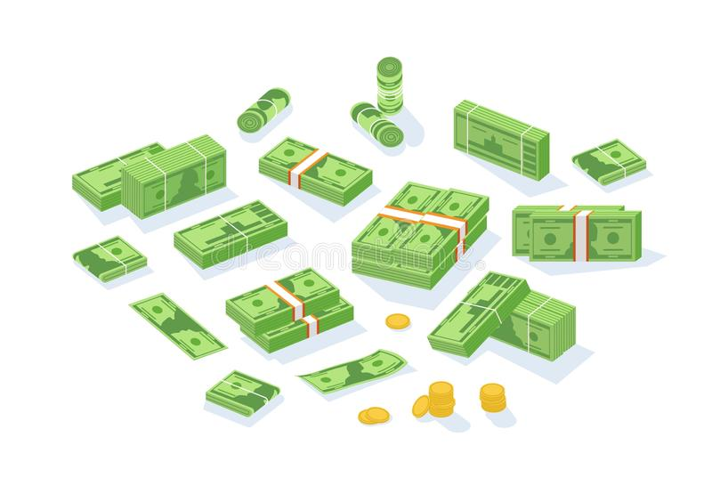 Bundle of cash money or currency. Set of United States dollar bills or banknotes in packs and rolls and cent coins. Isolated on white background. Modern vector illustration
