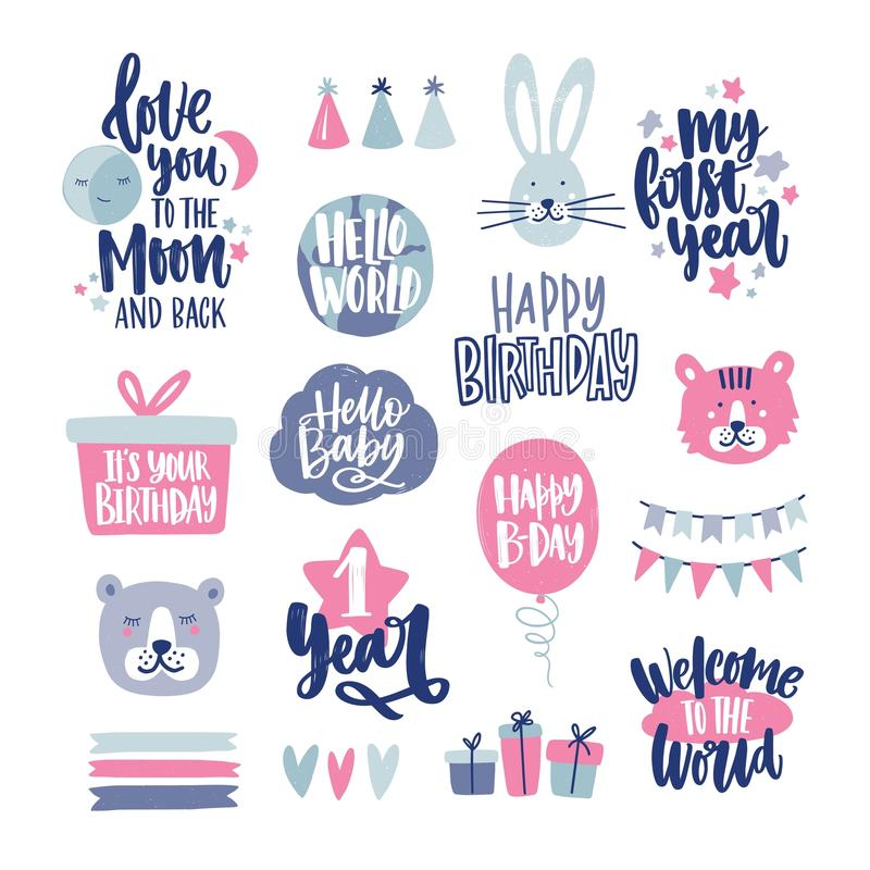 Bundle of childish lettering handwritten with elegant calligraphic fonts decorated with cute cartoon design elements stock illustration