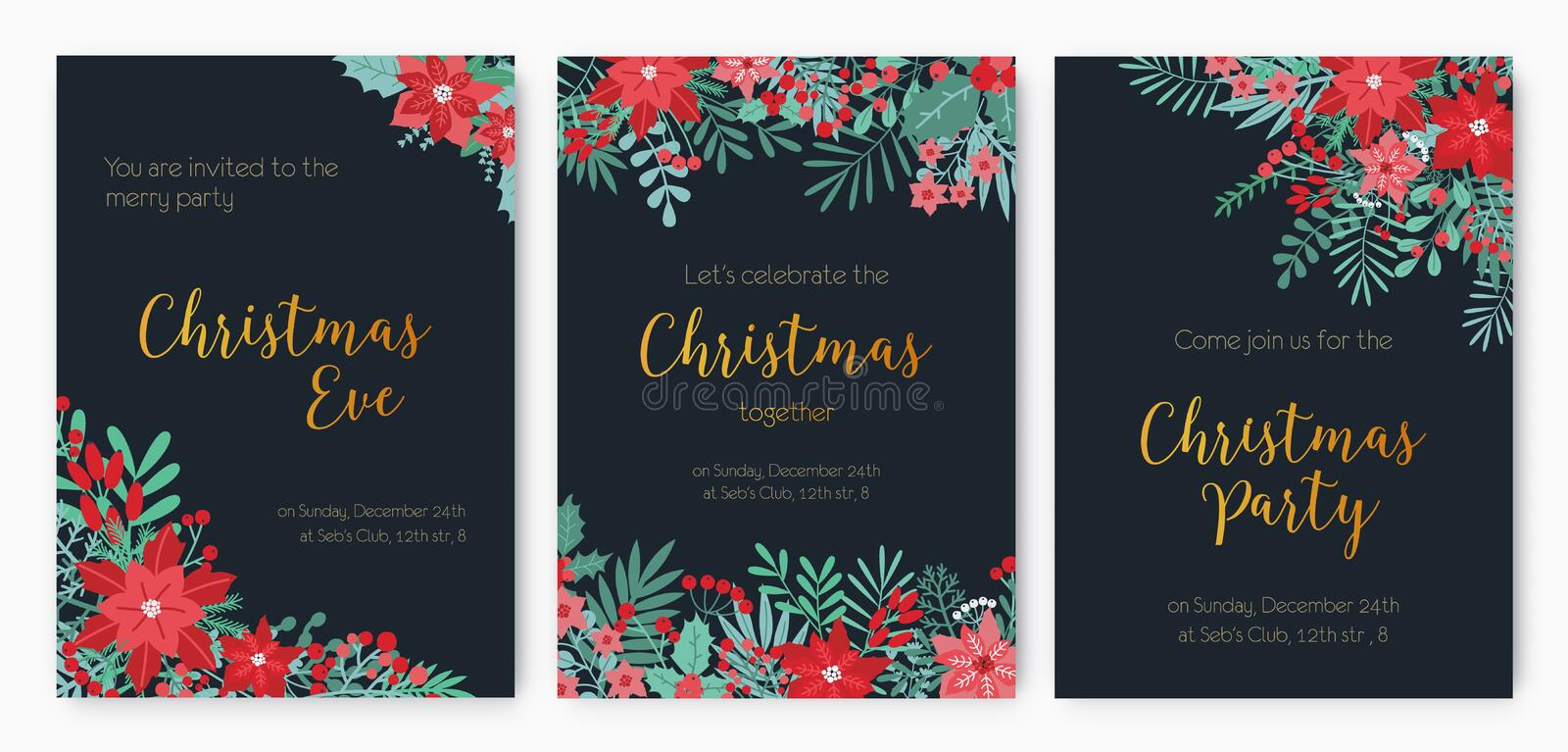 Bundle of Christmas Eve Party invitation, festive event announcement or promotional flyer templates decorated with red royalty free illustration