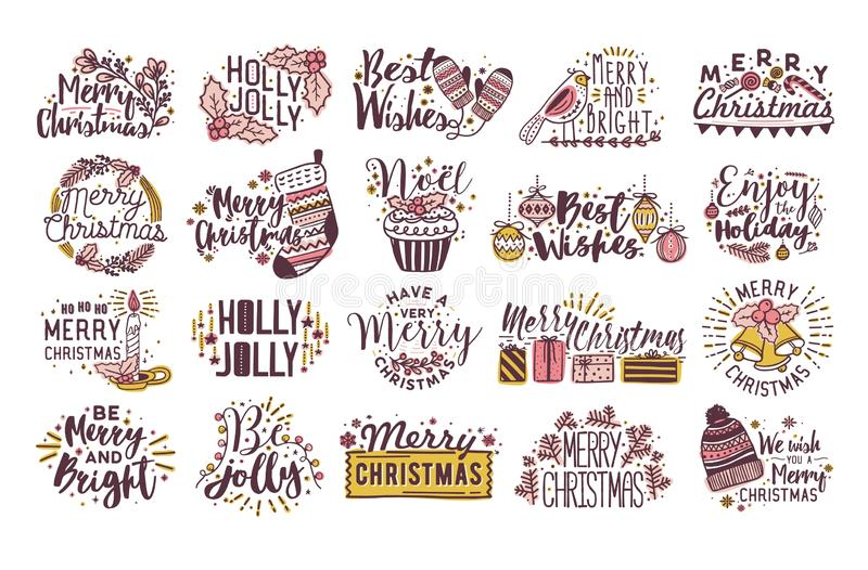 Bundle of Christmas written lettering decorated by seasonal winter decorations - holly leaves, baubles, knitted hat. Candle. Collection of hand drawn holiday royalty free illustration
