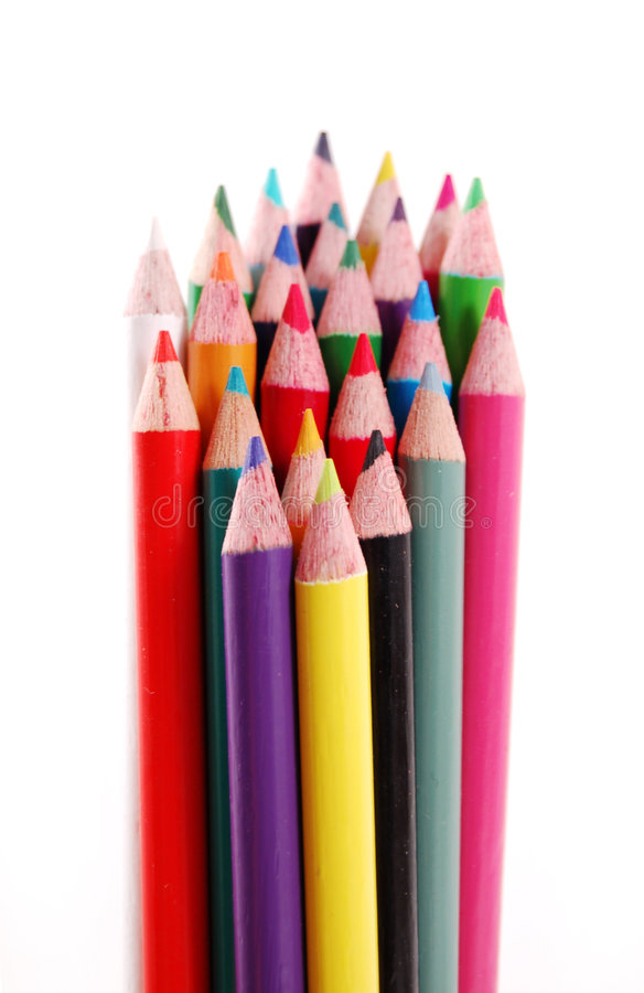 Bundle of Color Pencils stock images