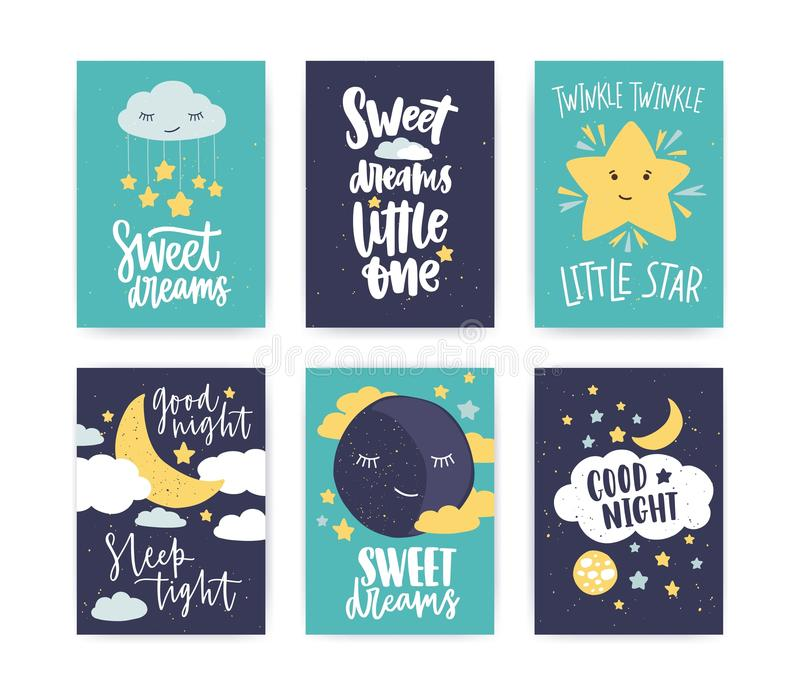 Bundle of colorful poster or flyer templates with Good Night and Sweet Dreams wishes with elegant lettering handwritten royalty free illustration
