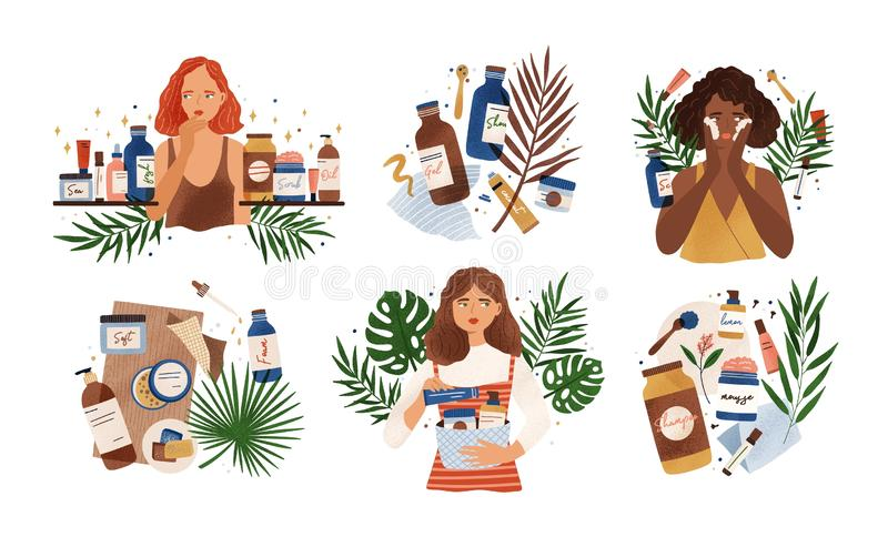 Bundle of compositions with cute young women, tropical leaves and natural organic cosmetics products in bottles, jars. And tubes for skin care. Skincare routine royalty free illustration