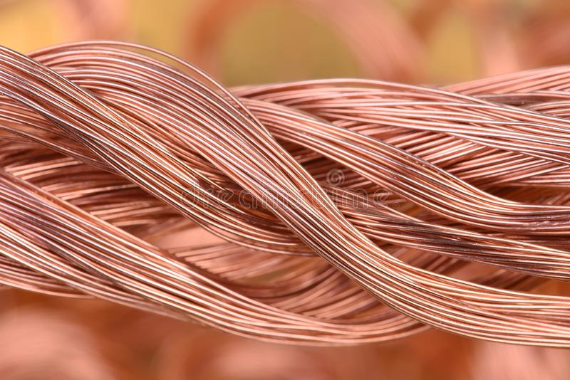 Bundle of copper wire. On blurred background royalty free stock photos