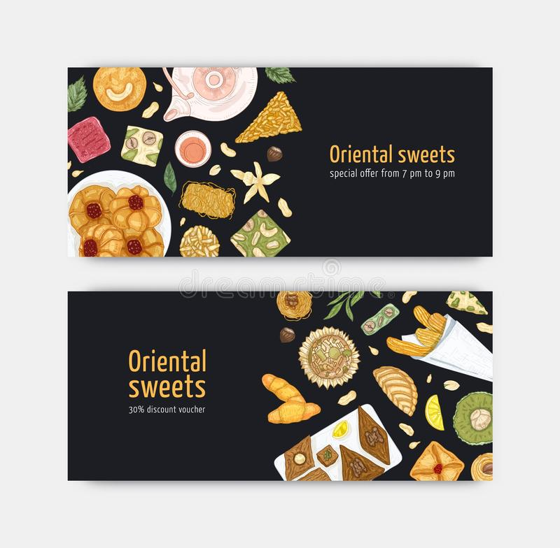 Bundle of coupon or voucher templates with sweet oriental desserts on plates. Traditional tasty confections, delicious. Pastry. Elegant realistic vector vector illustration