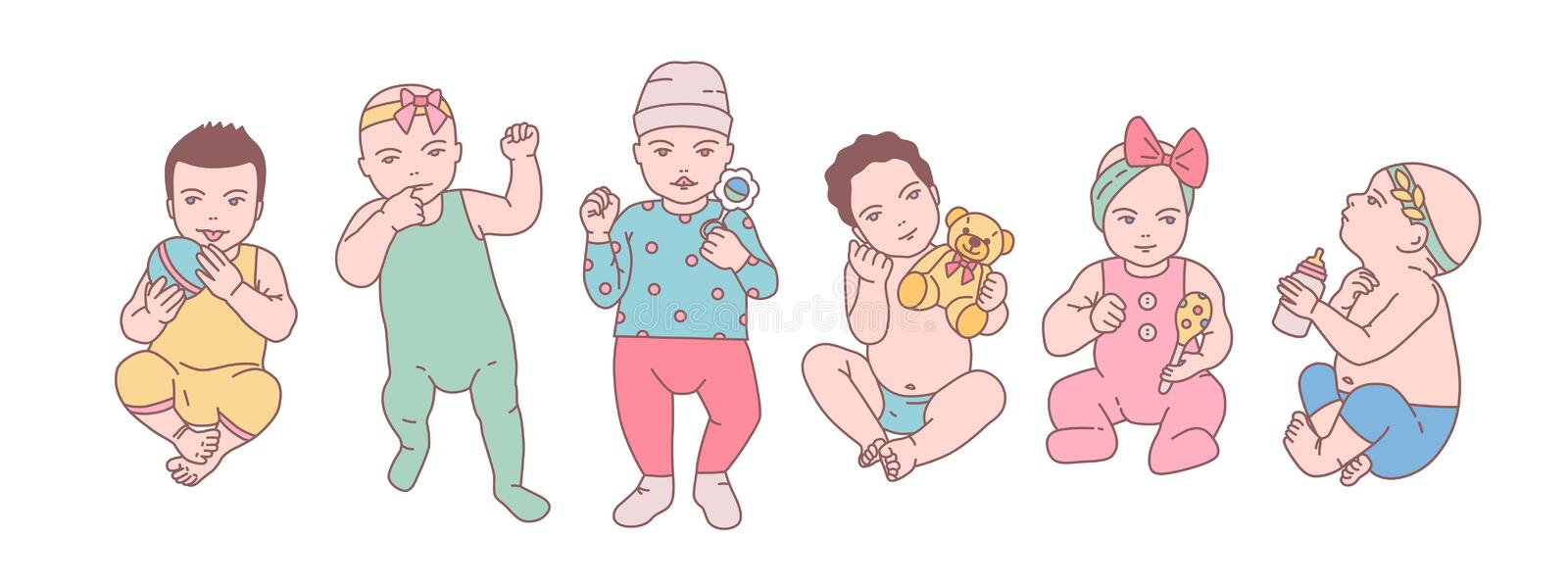 Bundle of cute newborn babies or small children dressed in various clothes and holding toys and rattles. Set of toddlers vector illustration