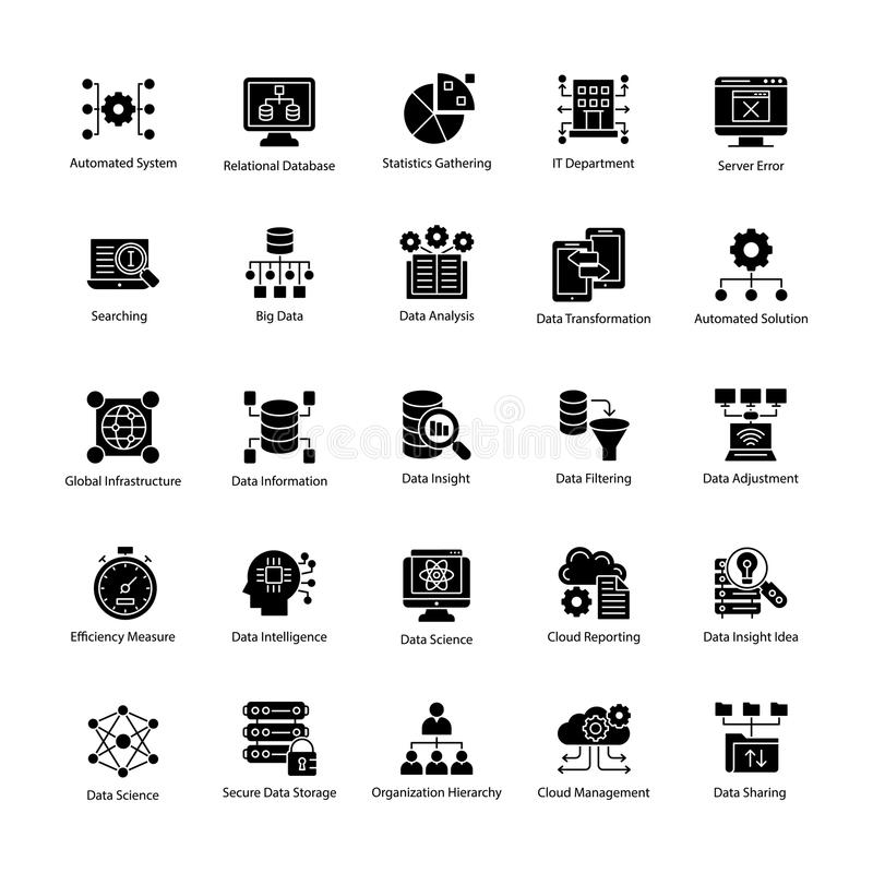 Bundle of Data Science glyph Vector Icons royalty free illustration