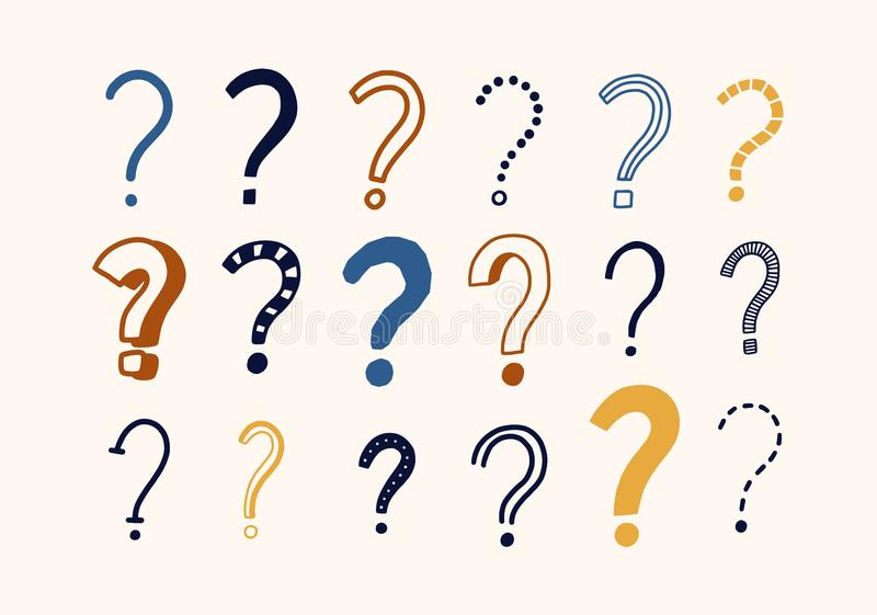 Bundle of doodle drawings of question marks. Set of interrogation points hand drawn with colorful contour lines on light vector illustration