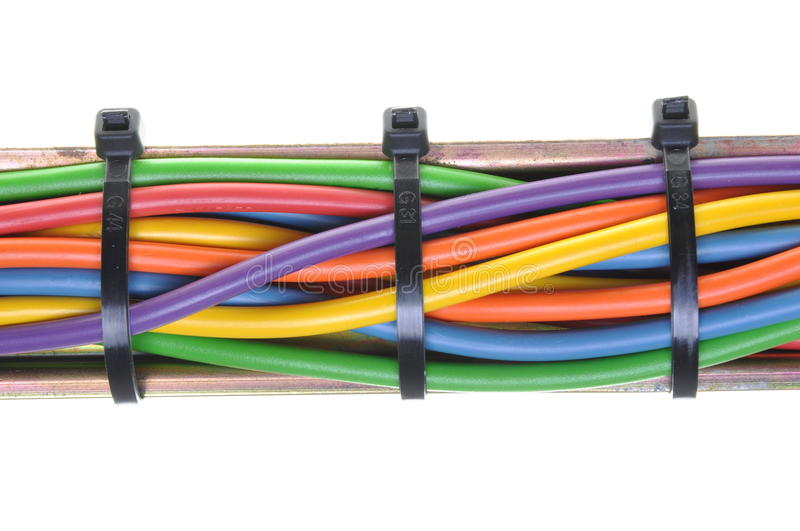 Bundle of electric cables isolated on white background stock image