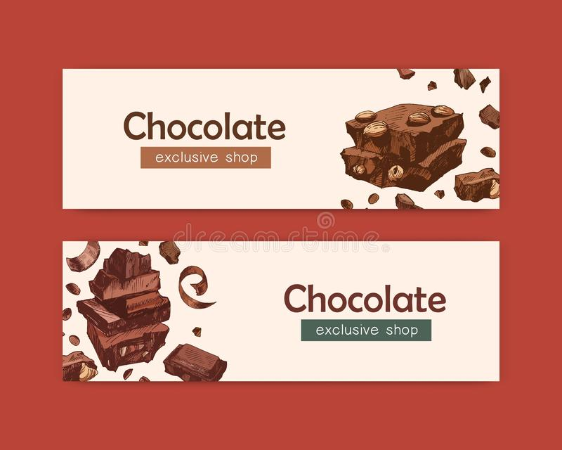 Bundle of elegant web banner templates with chocolate bars, sweet tasty organic desserts, natural delicious confections. Decorative vector illustration for royalty free illustration
