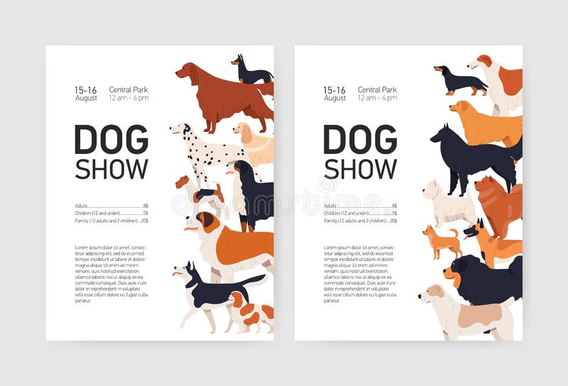 Bundle of flyer or placard templates for conformation dog show with adorable doggies of different breeds and place for. Text. Colored vector illustration in royalty free illustration