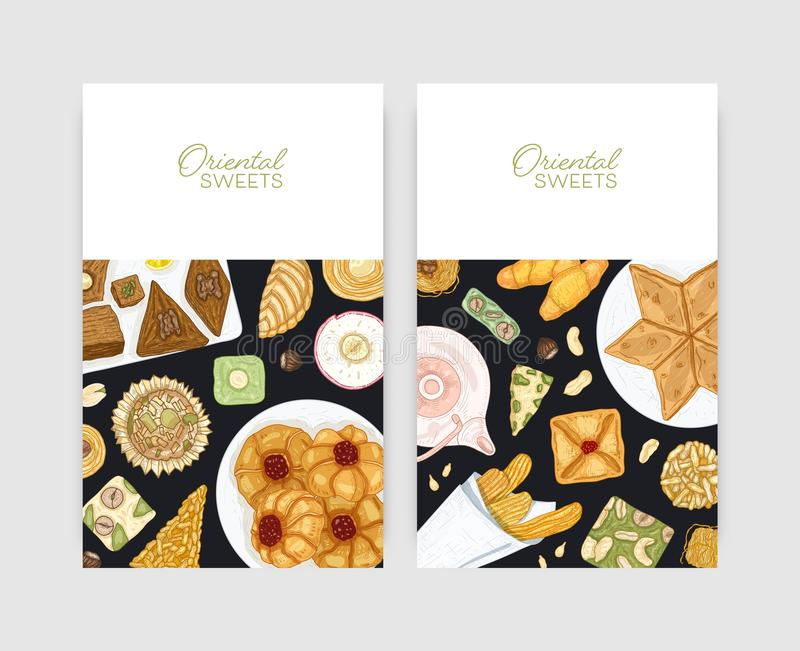 Bundle of flyer or poster templates with oriental desserts on plates. Traditional sweets, tasty confections, delicious. Pastry. Hand drawn realistic vector vector illustration