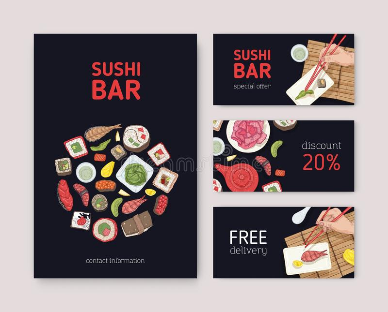 Bundle of flyers, web banners or coupons for Japanese restaurant with hands holding sushi, sashimi and rolls with. Chopsticks on black background. Vector stock illustration