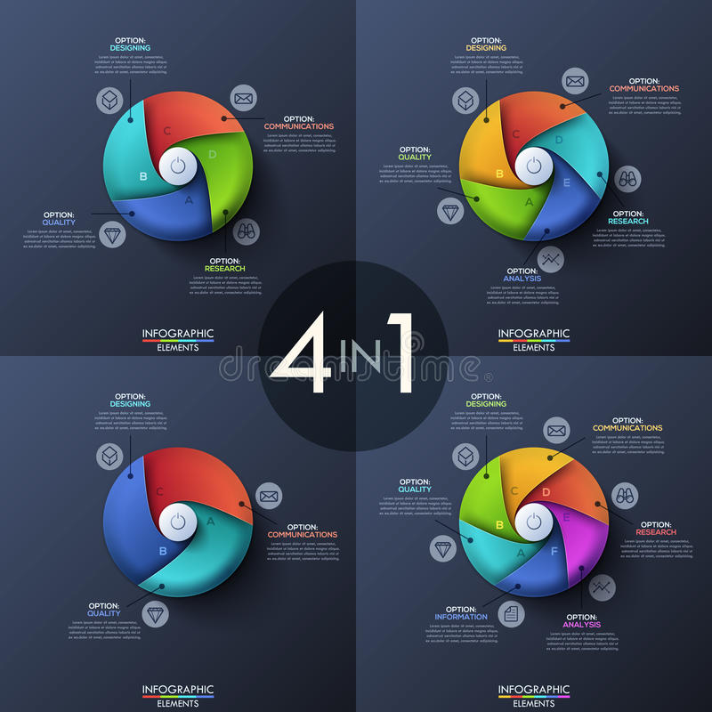 Bundle of four infographic design templates, circular diagrams with 3, 4, 5 and 6 spiral elements, start button in stock illustration