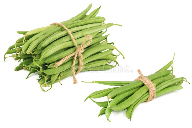 Bundle of fresh green beans isolated on white royalty free stock images