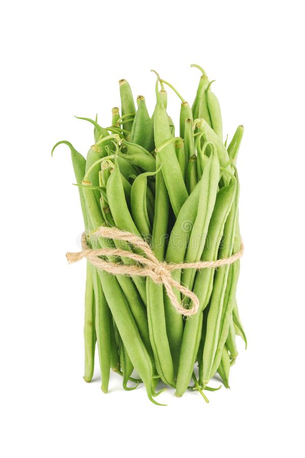 Bundle of fresh green beans isolated on white stock photos