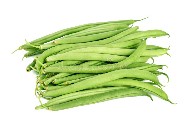 Bundle of fresh green beans isolated on white royalty free stock photography