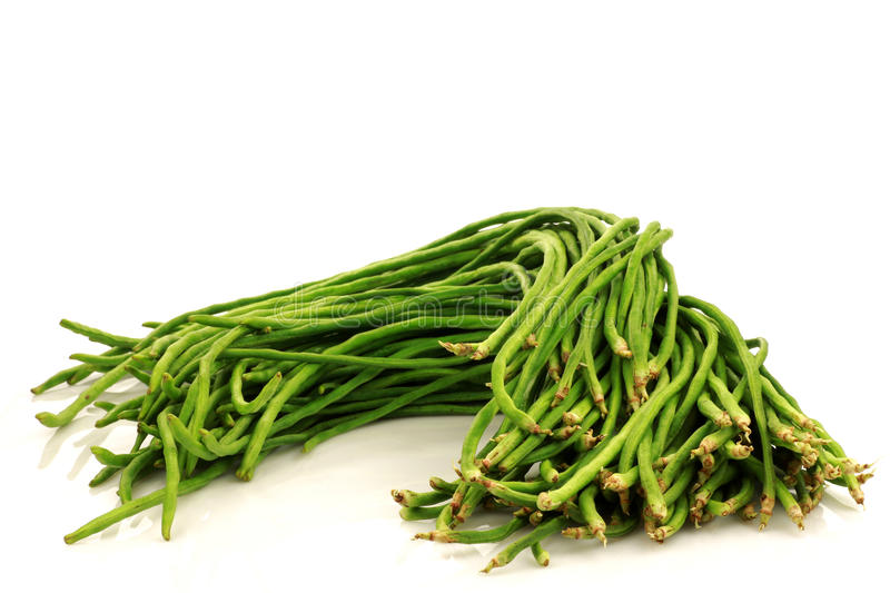 Bundle of fresh long beans. (Vigna unguiculata subsp. sesquipedalis) on a white background royalty free stock photo