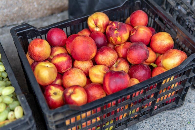 A bundle of Freshly Picked Nectarines stock image