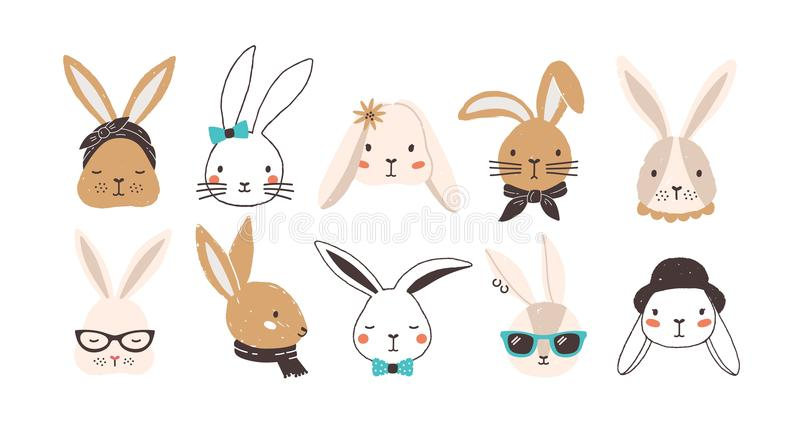 Bundle of funny bunny faces isolated on white background. Set of cute rabbits or hares wearing glasses, sunglasses, hat royalty free illustration