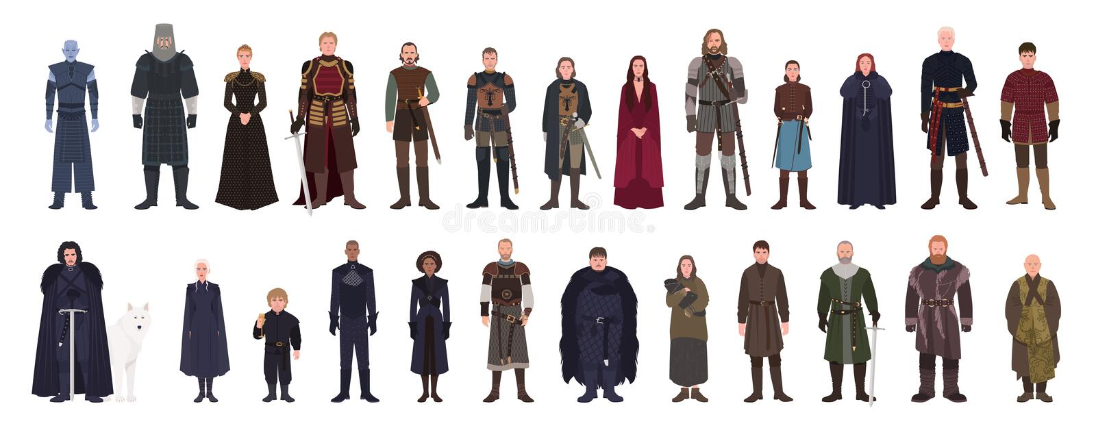 Bundle of Game of Thrones fantasy novel and TV series or television adaptation male and female fictional characters vector illustration