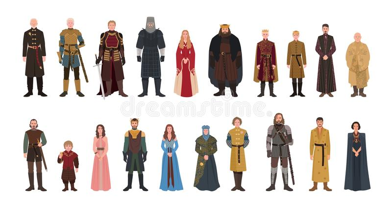 Bundle of Game of Thrones novel and TV series male and female fictional characters. Set of men and women dressed in royalty free illustration