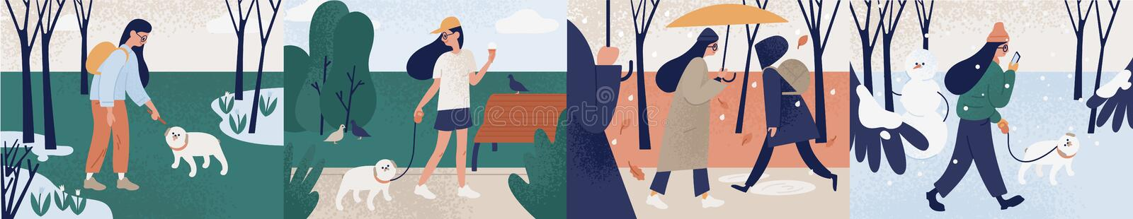 Bundle of girl walking alone or with her dog during different seasons. Set of young woman performing outdoor activities vector illustration