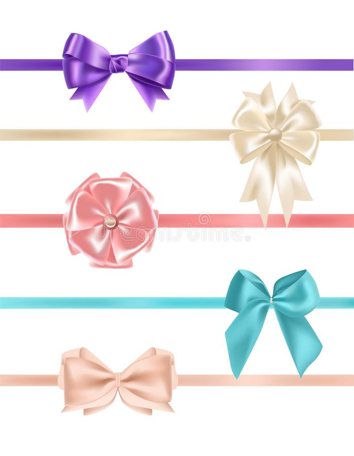 Bundle of gorgeous realistic satin bows and ribbons of various types and colors isolated on white background. Set of vector illustration