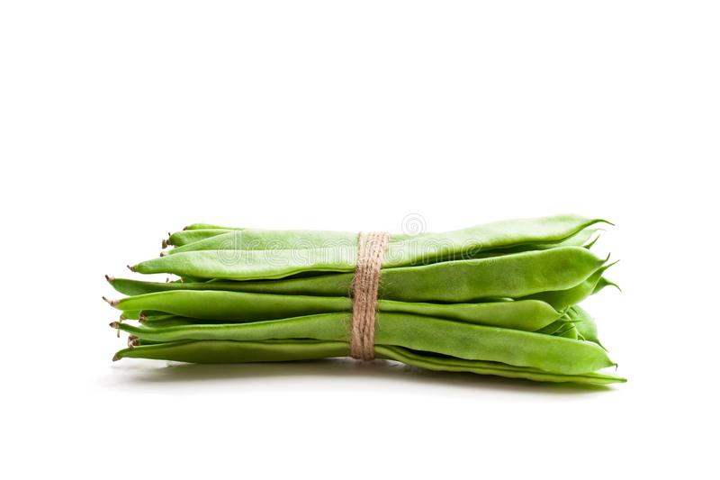 Bundle of green beans isolated on white royalty free stock photography