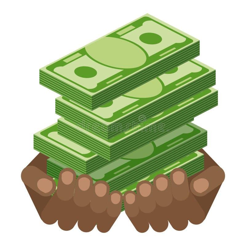 Bundle Green Money In Black Hands Stock Vector Illustration Of